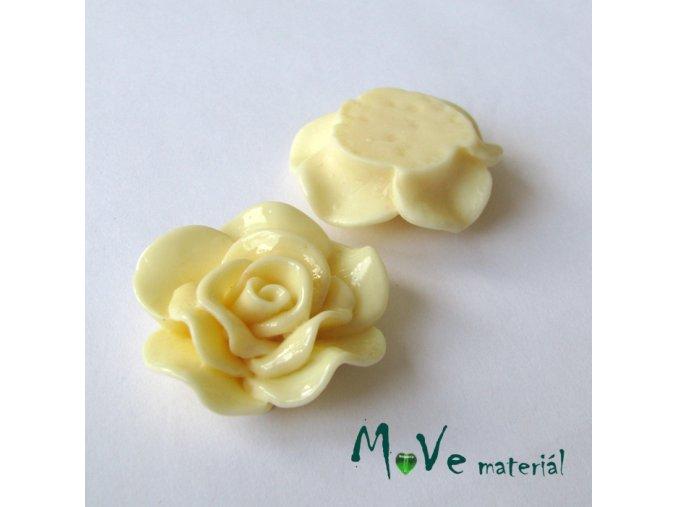 Kabošon květ lesklý B1 - resin - 1ks, vanikový