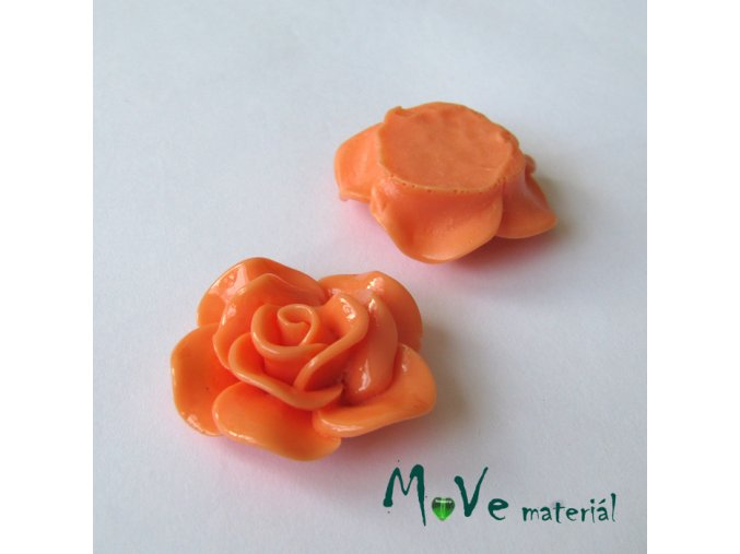 Kabošon květ lesklý B1 - resin - 1ks, lososový