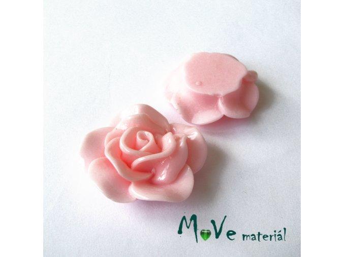 Kabošon květ lesklý B1 - resin - 1ks, sv. růžový