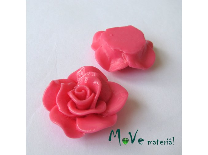 Kabošon květ lesklý B1 - resin - 1ks, tm. růžový