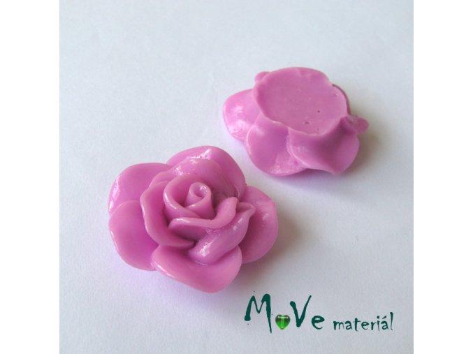 Kabošon květ lesklý B1 - resin - 1ks, růžovofialový