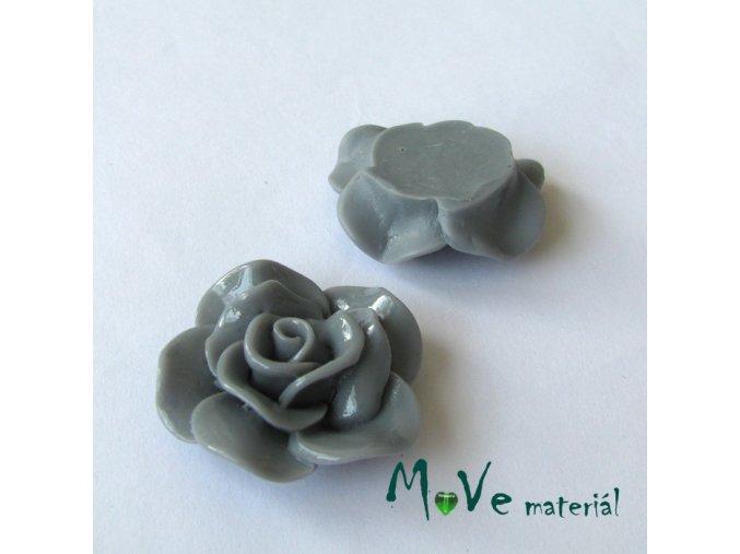 Kabošon květ lesklý B1 - resin - 1ks, šedý