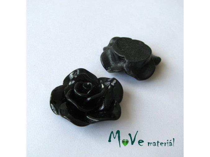 Kabošon květ lesklý B1 - resin - 1ks, černý