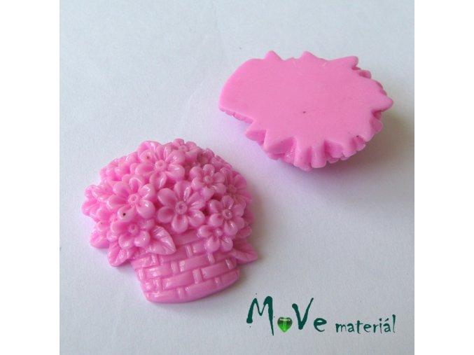 Kabošon košík lesklý - resin - 1ks, růžový