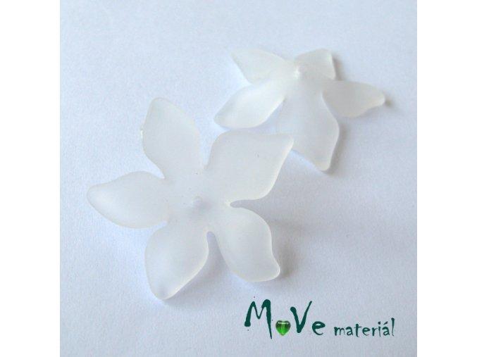 Akrylový květ 29x27mm, 2ks, bílý