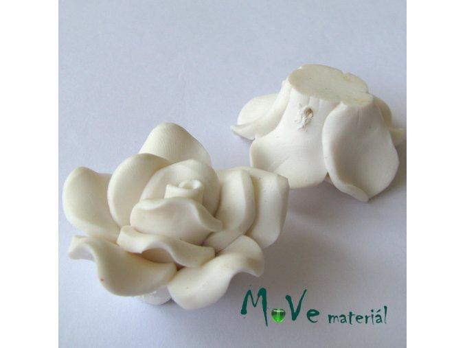 Polymerový korálek KVĚT, 1ks, bílý