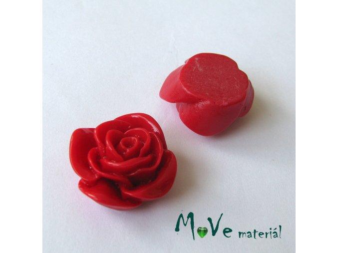 Kabošon -růže - lesklý resin B7 - 2ks, červený