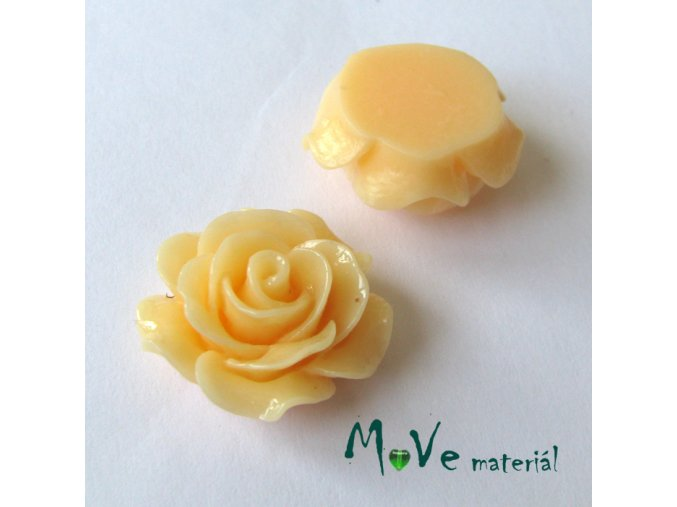 Kabošon růžička lesklá B2 - resin - 2ks, meruňkový
