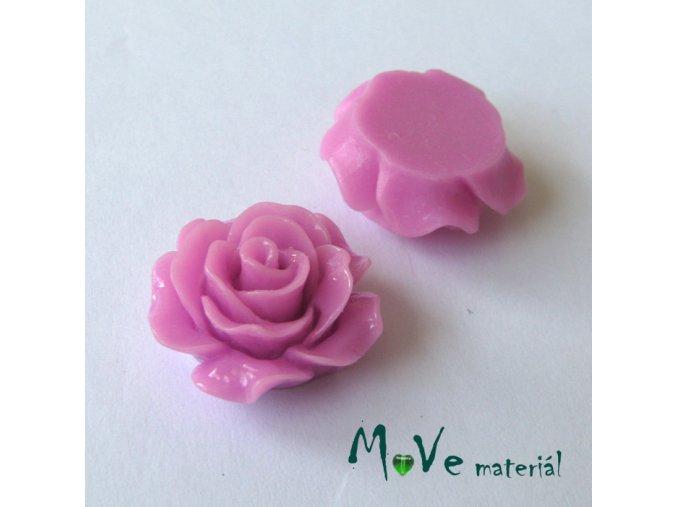Kabošon růžička lesklá B2 - resin - 2ks, růžovofial.