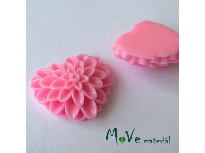 Kabošon srdce lesklý - resin - 1ks, růžový