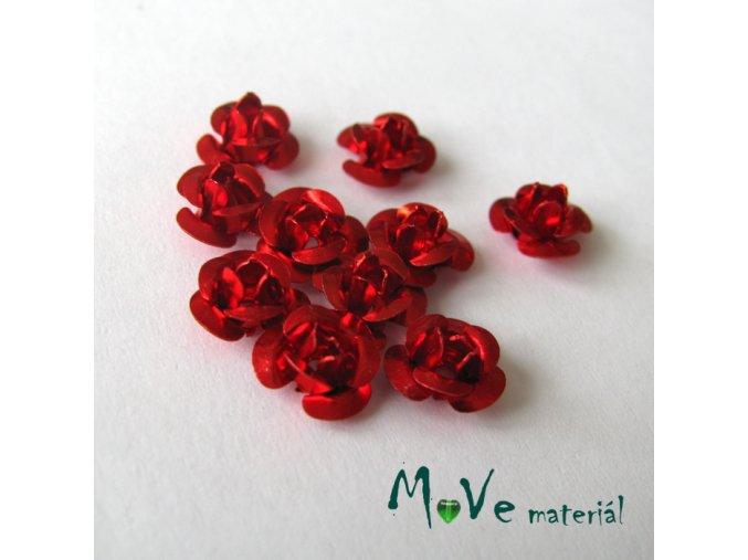 Korálek růžička 6mm, 10ks červená
