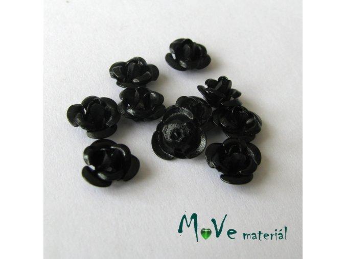 Korálek růžička 6mm, 10ks černá