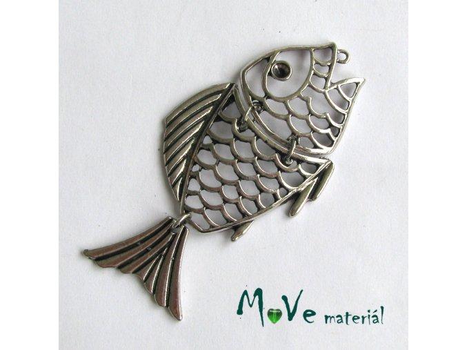 Přívěsek ryba 70x36mm, 1ks, starostříbrná