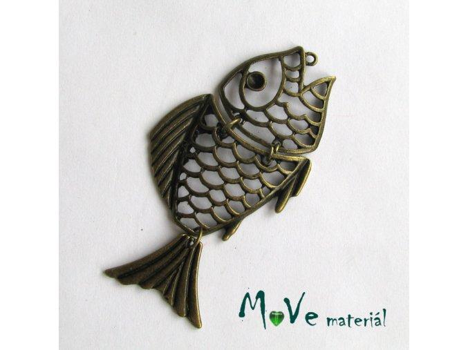 Přívěsek ryba 70x36mm, 1ks, staromosazná