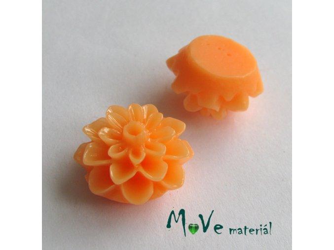 Kabošon květ lesklý A7- resin - 2ks, meruňkový
