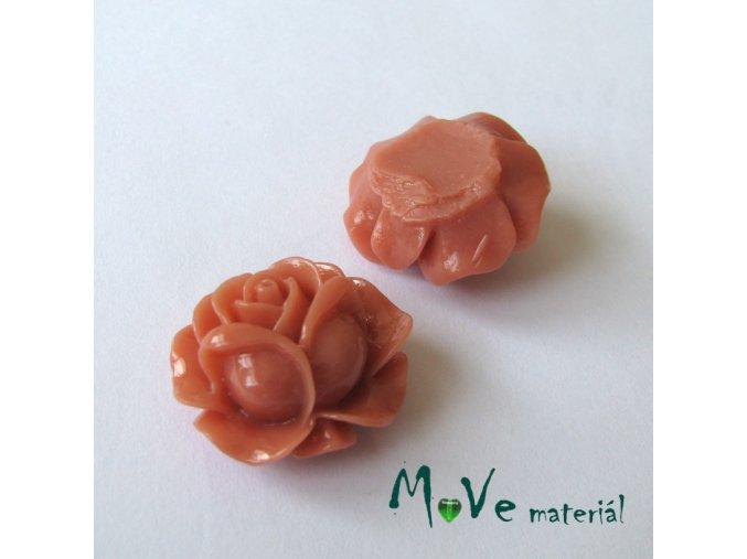 Kabošon B3 -růžička - lesklý resin - 2ks, starorůžový