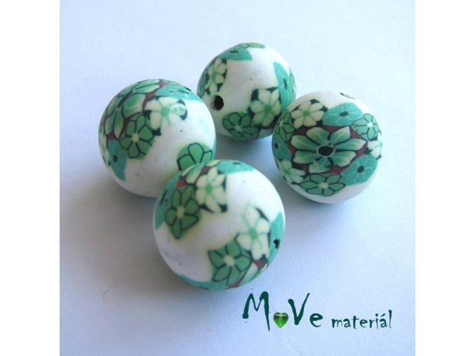 Fimo korálky 14mm, 4 kusy, zelené květy