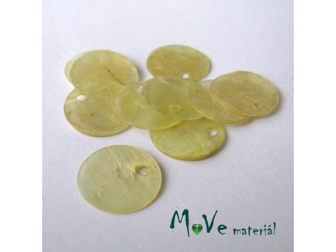 Perleťové penízky 13mm, 10ks, sv. žluté