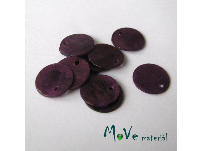 Perleťové penízky 13mm, 10ks, fialové