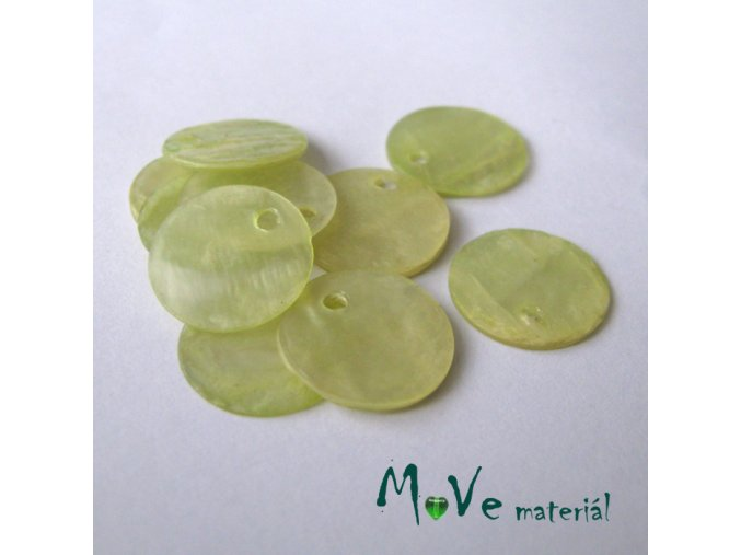 Perleťové penízky 13mm, 10ks, sv. zelené