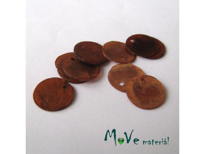 Perleťové penízky 13mm, 10ks, tm. hnědé