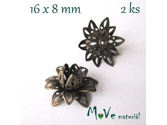 Filigránový květ - kaplík 16x8mm, 2ks antik bronz