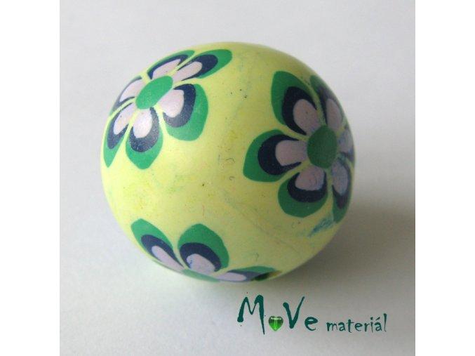 Fimo korálek 25mm, 1kus, zelenofialový