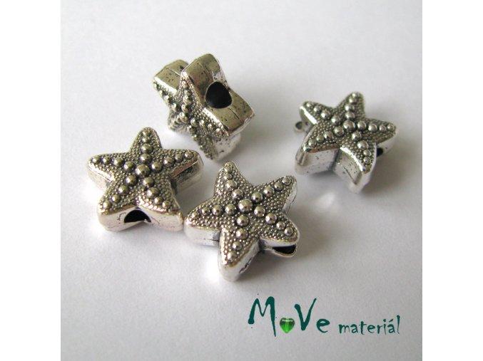 Korálek kovový hvězda, 4kusy, starostříbro