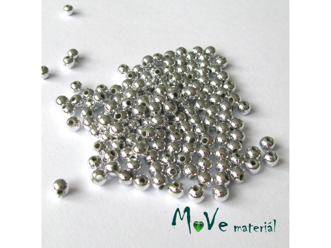 Akrylový korálek stříbrný, 5g cca 165ks