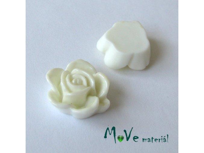 Kabošon květ lesklý B5 - resin - 2ks, bílý