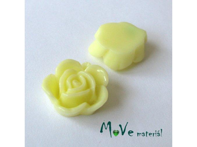 Kabošon květ lesklý B5 - resin - 2ks, vanilkový