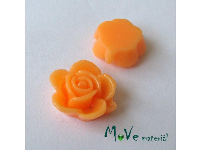 Kabošon květ lesklý B5 - resin - 2ks, sv. losos