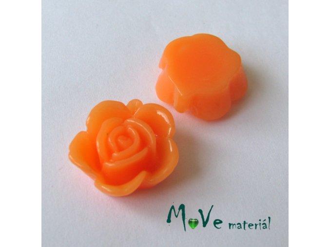 Kabošon květ lesklý B5 - resin - 2ks, tm. losos