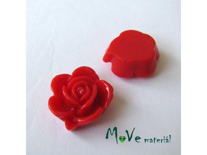 Kabošon květ lesklý B5 - resin - 2ks, červený