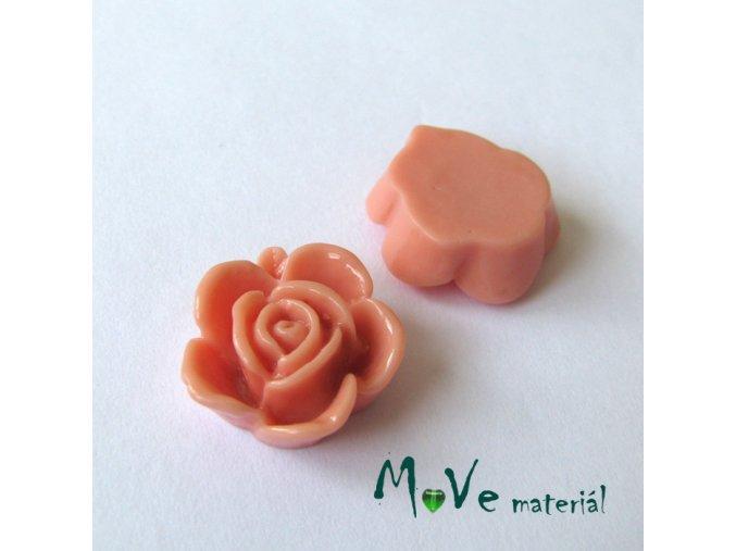 Kabošon květ lesklý B5 - resin - 2ks, starorůžový