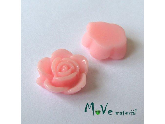 Kabošon květ lesklý B5 - resin - 2ks, sv. růžový