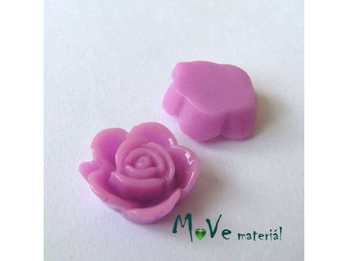 Kabošon květ lesklý B5 - resin - 2ks, růžovofialový