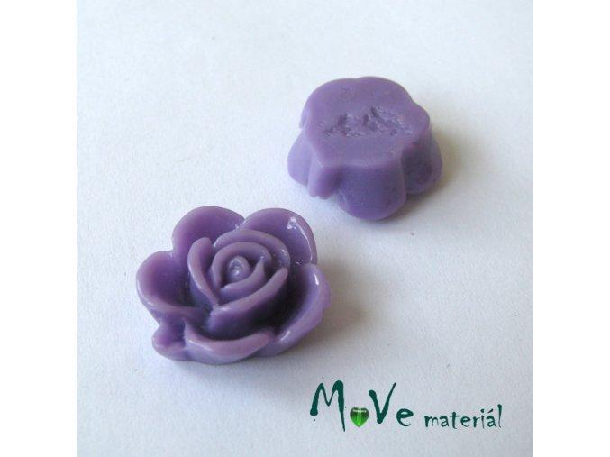 Kabošon květ lesklý B5 - resin - 2ks, fialový