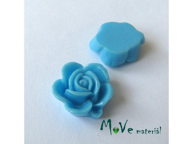 Kabošon květ lesklý B5 - resin - 2ks, sv. modrý