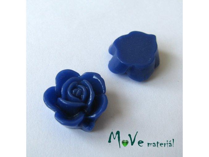 Kabošon květ lesklý B5 - resin - 2ks, tm. modrý