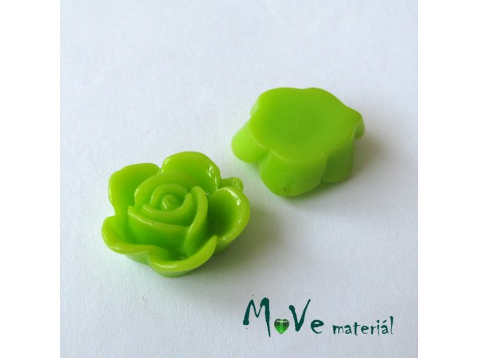 Kabošon květ lesklý B5 - resin - 2ks, sv. zelený