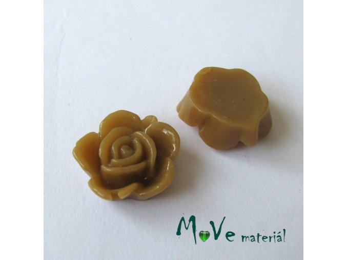 Kabošon květ lesklý B5 - resin - 2ks, sv. hnědý