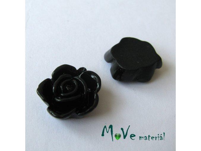 Kabošon květ lesklý B5 - resin - 2ks, černý