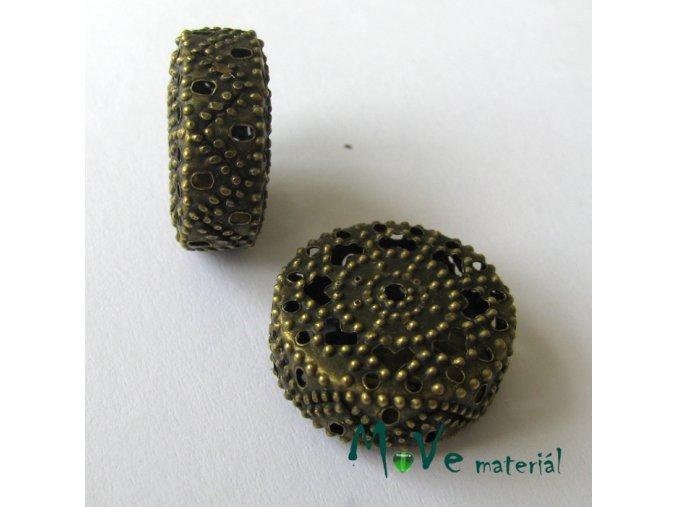 Filigránový korálek placka, staromosazný, 1ks