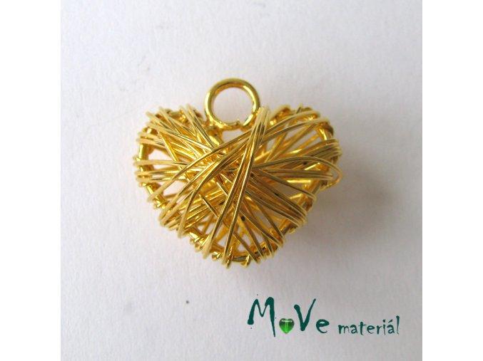 Přívěsek 20x22mm drátované srdce zlaté 1ks