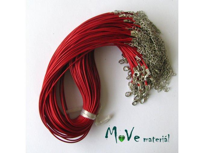 Šňůrka pletená s karabinkou délka 45cm, červená