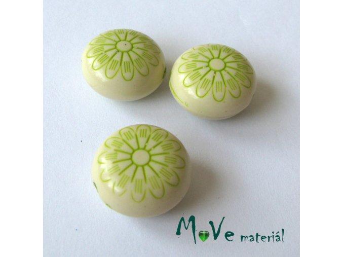 Akrylový korálek placka, 3ks, zelená