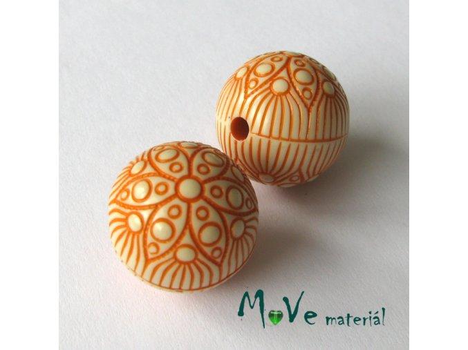 Akrylový korálek kulička, 2ks, oranžová