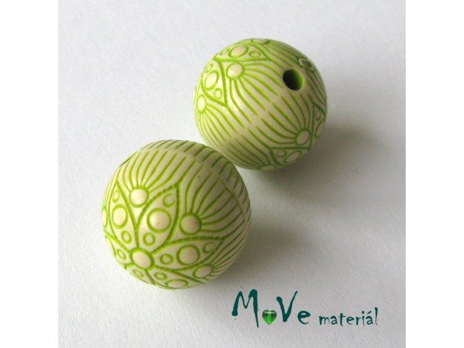 Akrylový korálek kulička, 2ks, zelená