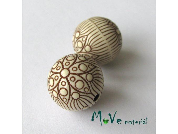 Akrylový korálek kulička, 2ks, hnědá